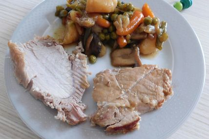 Rôti de porc et jardinière de légumes au Cookeo