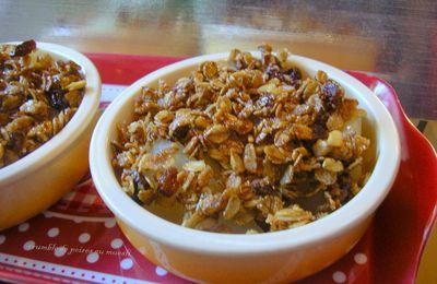 crumble de poires muesli aux fruits/raisins, pommes, figues, abricots, nois de coco