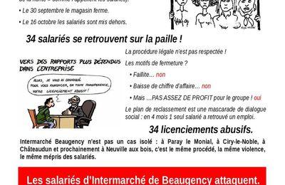FERMETURE DE L INTERMARCHE DE BEAUGENCY, LA CGT AVEC LES 34 SALARIES