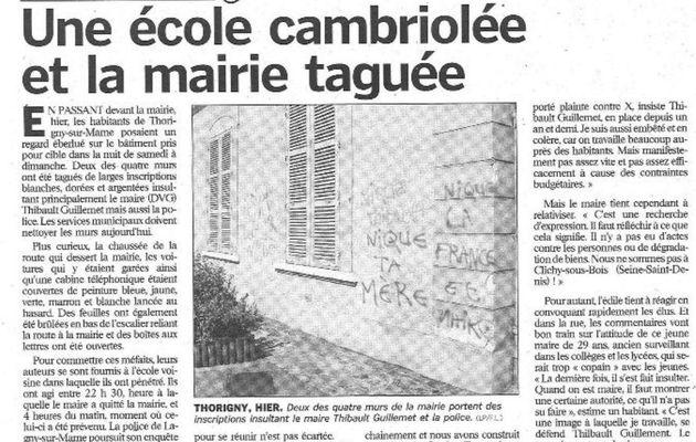 Message de soutien au Maire de Thorigny-sur-Marne, Thibault Guillemet
