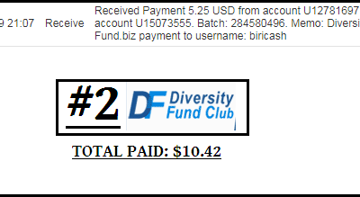 Second payment received from Diversity-Fund +$5.25 | Total $10.42