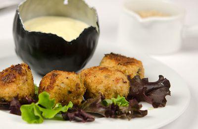 Boulettes ou polpette italiennes au poulet, champignons et mozarella