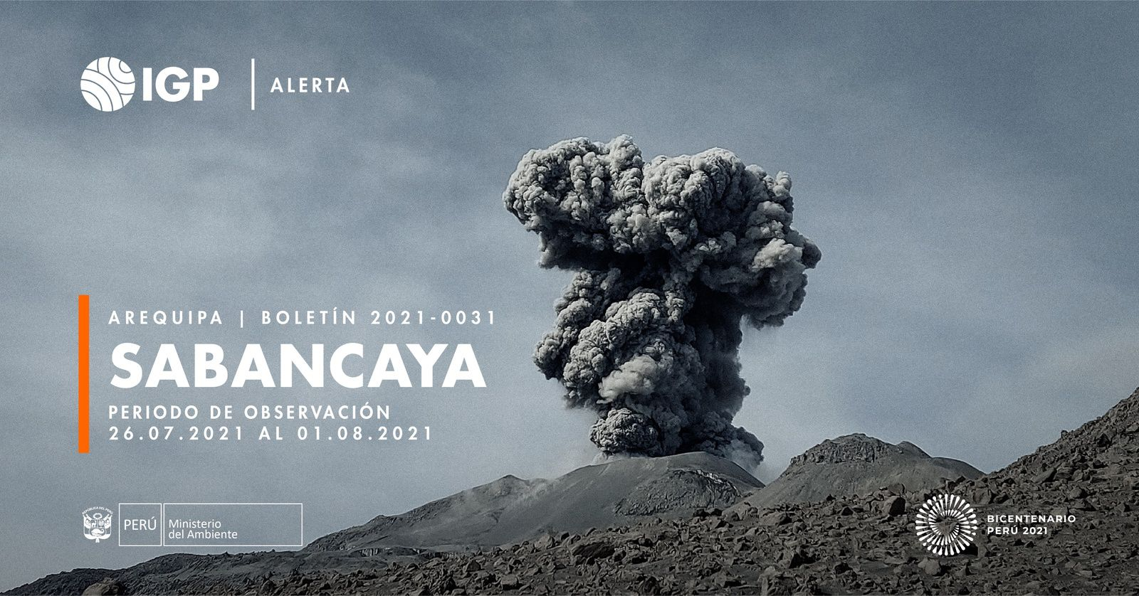 Sabancaya - activity report from July 26 to August 1, 2021 - Doc. I.G. Peru