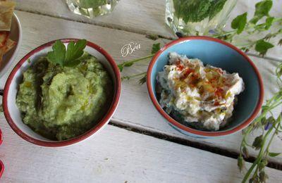 Duo de tartinades : tartinade printanière aux artichauts, fèves et petits pois et tartinade au chèvre frais et pikles de concombre.
