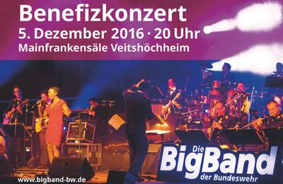 Benefizkonzert für Musikverein Veitshöchheim der Big Band der Bundeswehr am 5. Dezember 2016 in den Mainfrankensälen - 40 Jahre Swing, Rock, Pop in Uniform