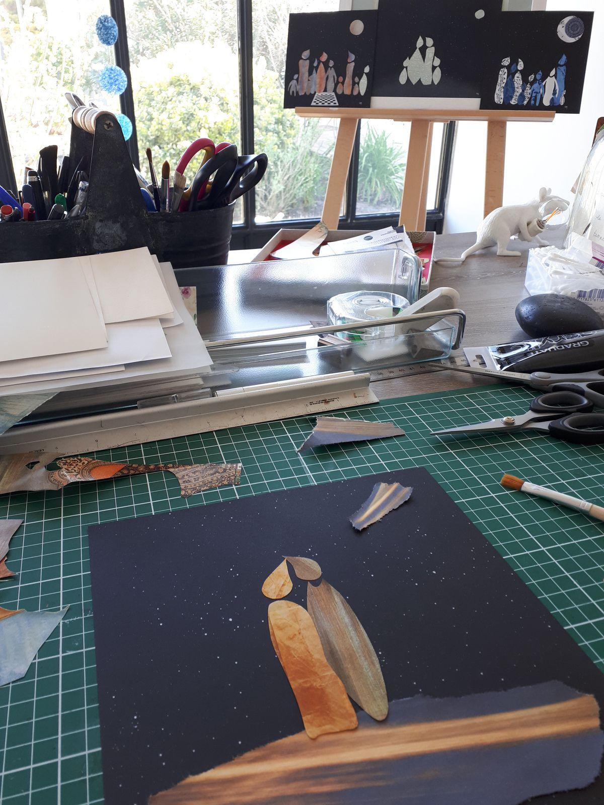 """Et puis, quelques vues du collage """"dans son jus"""" non encore ou à peine collé à l'atelier..."""