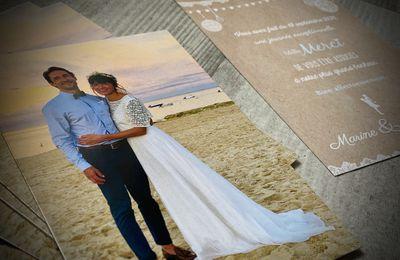 La carte de remerciements assortie au faire part de mariage de Marine et Benjamin ... thème dentelle