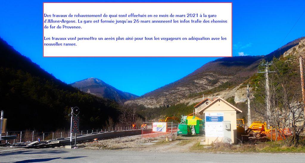 Chemin de fer de provence  : travaux quai Gare Allons