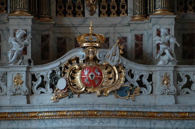 Eglise St-Jacques,  Lunéville, le Grand Orgue, baldaquin, armoiries de Stanislas.