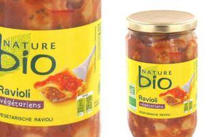 Rappel produit : Ravioli végétarien 680g de marque NATURE BIO