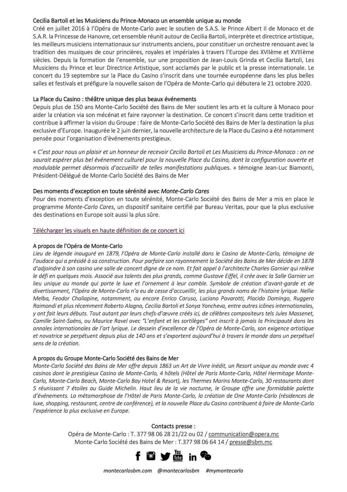 MONACO: CECILIA BARTOLI ET LES MUSICIENS DU PRINCE MONACO: CONCERT EXCLUSIF SUR LA NOUVELLE PLACE DU CASINO