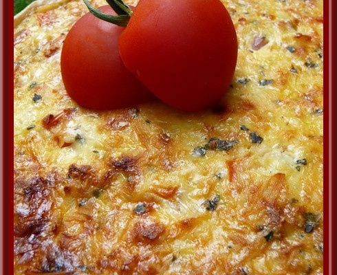 Tarte courgettes, bacon et tomates