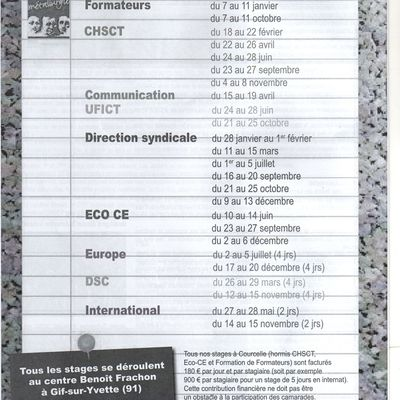 CALENDRIER FORMATION SYNDICALE 2013