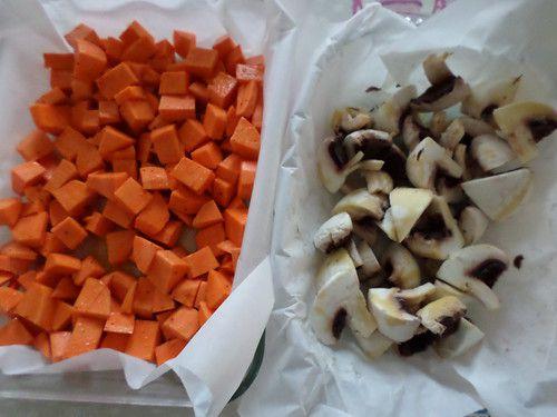 Salade boulgour, légumes cuits, feta et amandes