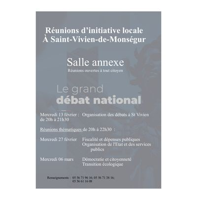 Grand Débat; Réunions d'initiatives locales à Saint-Vivien-de-Monségur