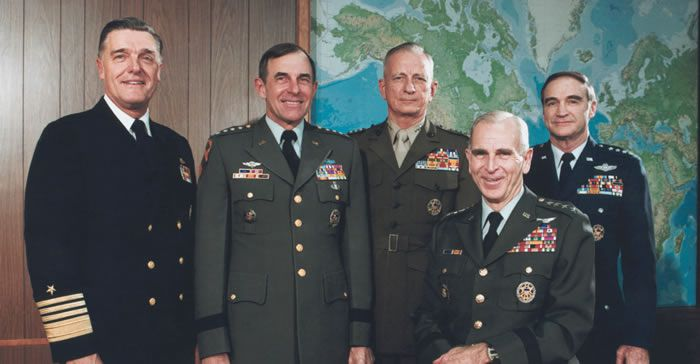 "Gen. Edward Charles ""Shy"" Meyer died on Tuesday. He was 91. He is pictured here, second from the left, with his fellow joint chiefs of staff at the Pentagon in 1982. (Photo: Bettmann/Getty Images)"