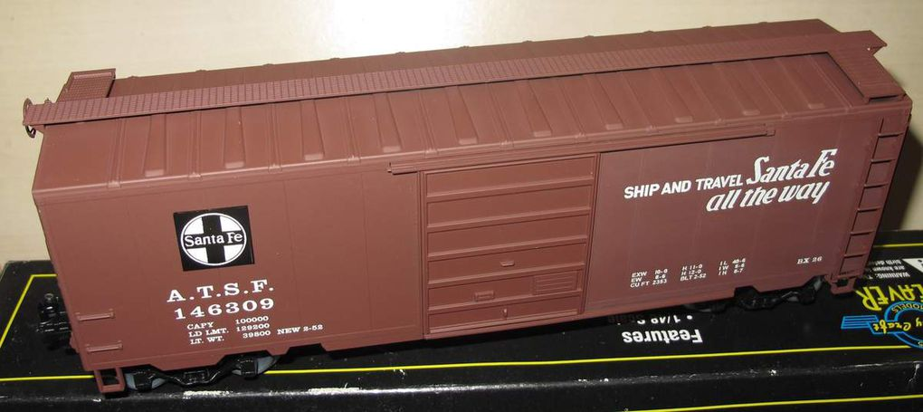 Wagon Box Car Santa Fe Grand Canyon 3 rails échelle O Weaver