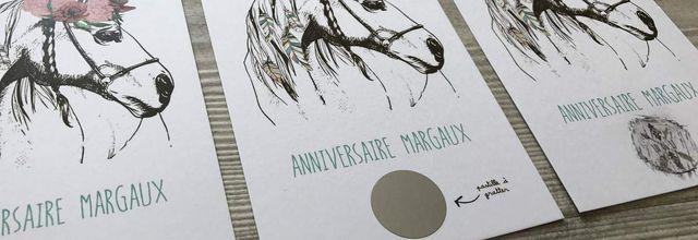 La carte anniversaire de ma fille Margaux sur le thème des chevaux ...