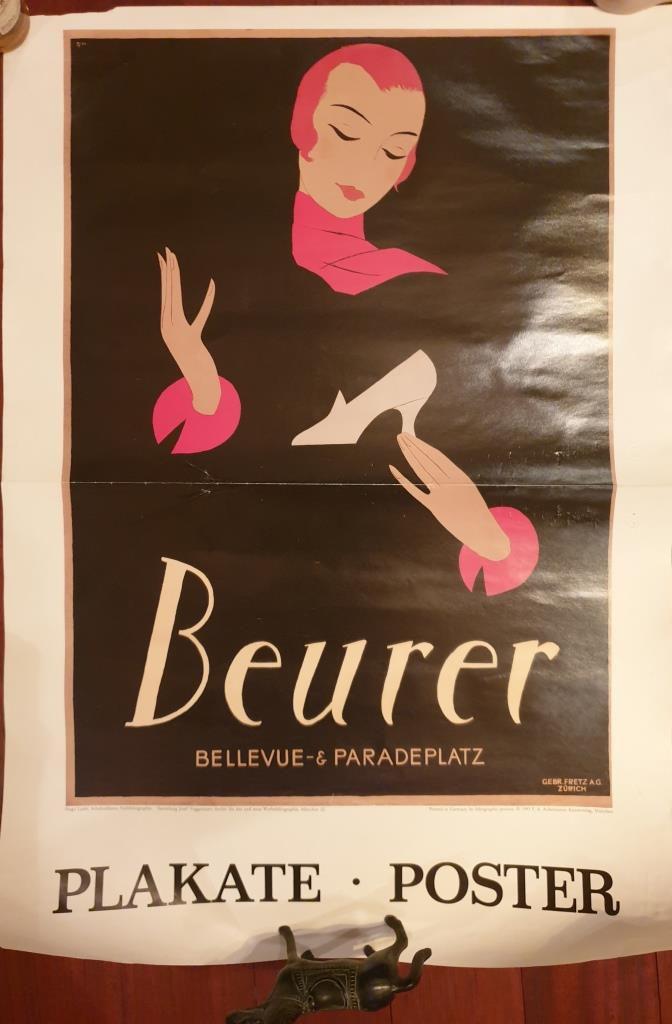 AFFICHE ART DECO 1924 CHAUSSEUR BEURER REPRODUCTION DE 1993 - 25 euros