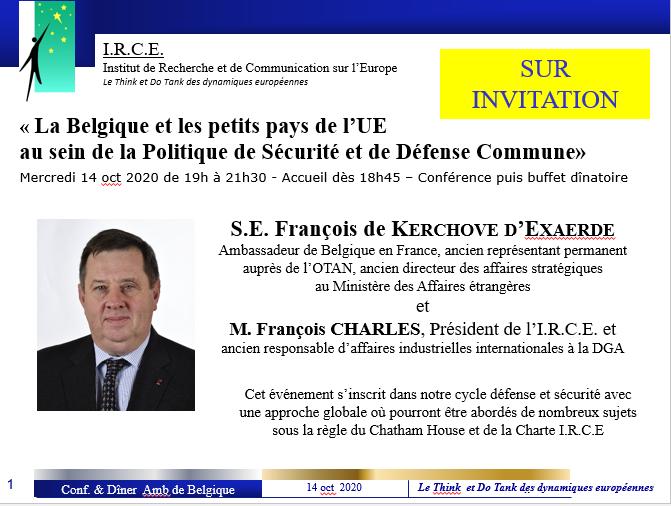 14 et 15 OCT «La Belgique et les petits pays de l'UE  au sein de la Politique de Sécurité et de Défense Commune»