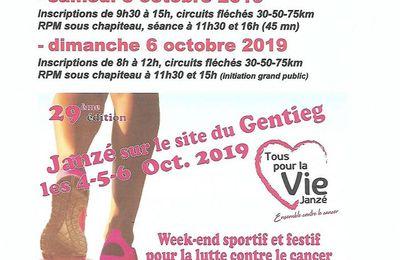 Randos Cyclo et RPM à Janzé le Sameedi 5 et Dimanche 6 Octobre.