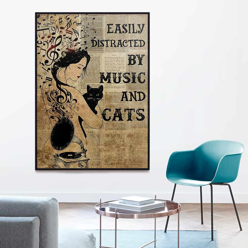 Girl Easily Distracted By Music And Cats poster, canvas