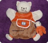 Doudou chat orange marron, marionnette, Doudou et compagnie, avec bébé