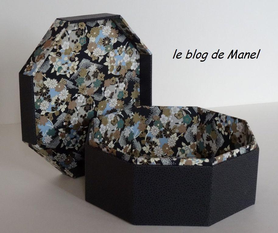 LES CARTONNAGES DE MANEL /BOITE OCTOGONALE A ONGLET COUVERCLE ORIGAMI