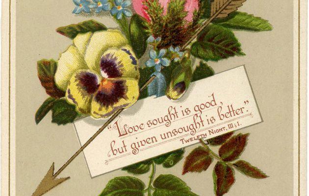 Anciennes cartes victoriennes vintage Saint Valentin sur le thème des fleurs