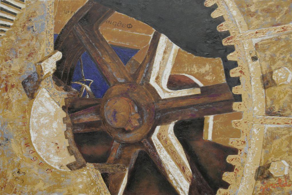 Cathédrale de fer, l'acier face au temps qui passe. Une civilisation au déclin. Huile sur toile
