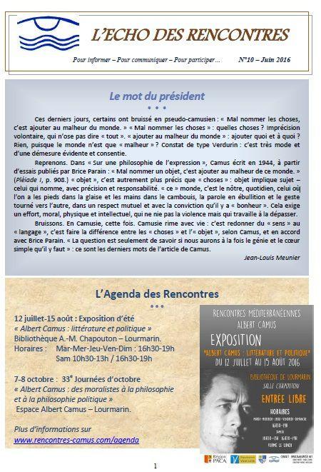 Echo des Rencontres 10-11-12-13-14-15-16-17-18 publiés
