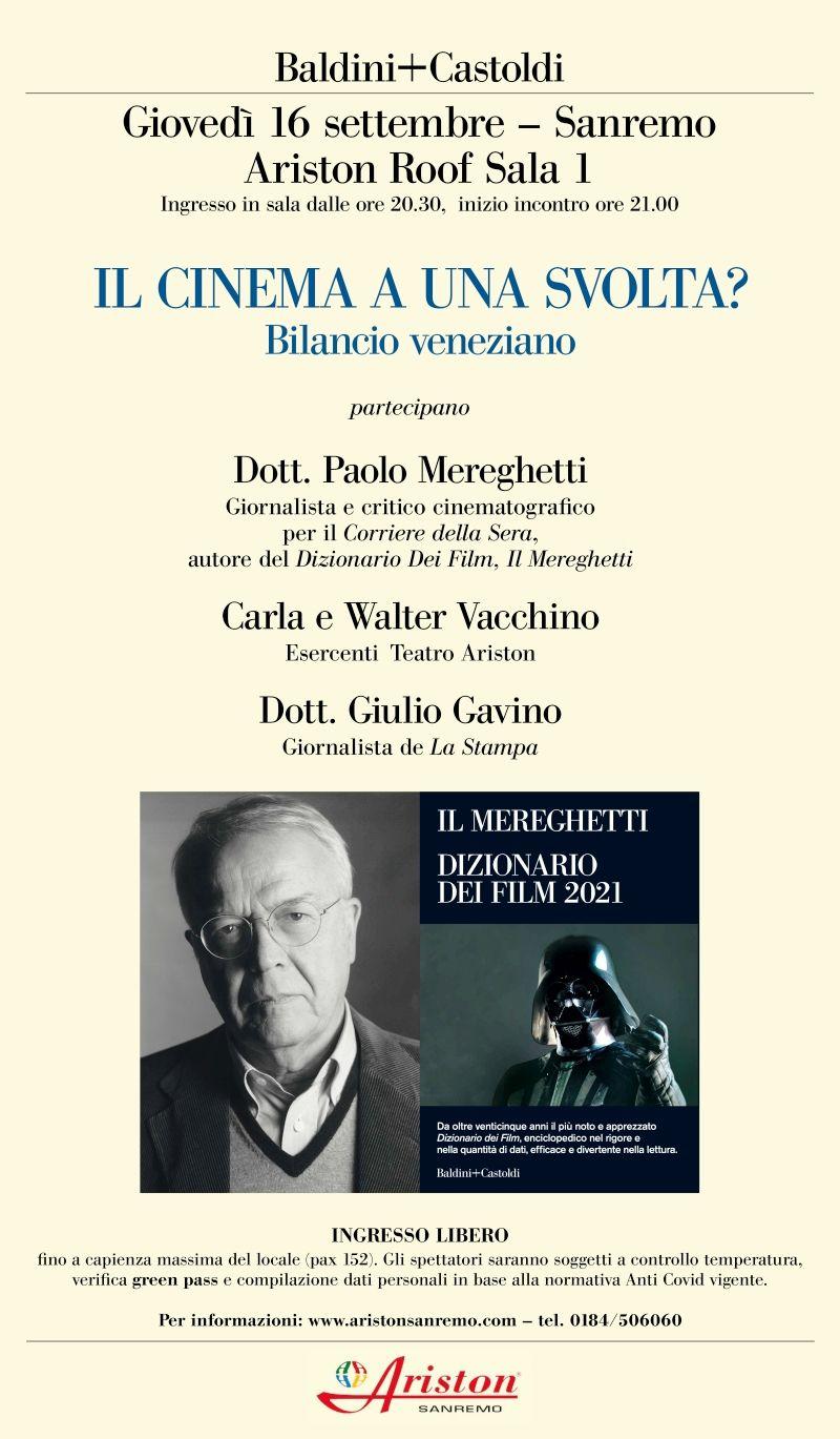ARISTON SANREMO : IL CINEMA A UNA SVOLTA  - BILANCIO VENEZIANO - GIOVEDI 16 SETTEMBRE ORE 21