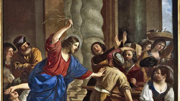 Jésus chassant les marchands du temple, de Guercino (Le Guerchin,1591-1666).