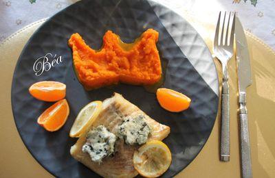 Lieu jaune au beurre d'algues et purée de carottes à la clémentine