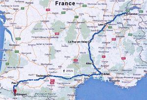 Le parcours français jusqu'au col du Somport