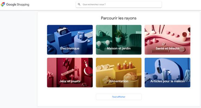captures d'écran des pages d'accueil de Google Shopping @ Tests et Bons Plans