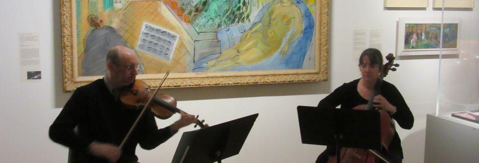 Une illustration musicale des œuvres de Raoul Dufy par le Duo Sisley (violon et violoncelle).