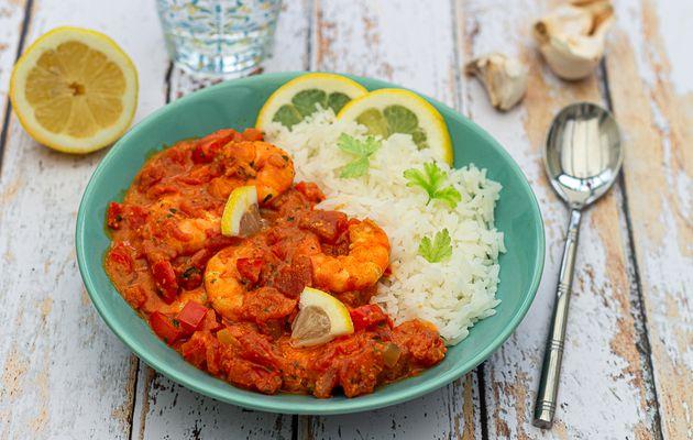 Curry de crevettes (ou gambas) au lait de coco