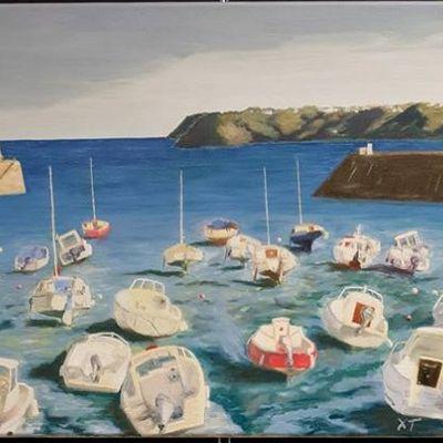 Petit port breton - peinture à l'huile