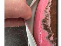 Entremet framboise insert vanille et spéculoos ,glaçage miroir