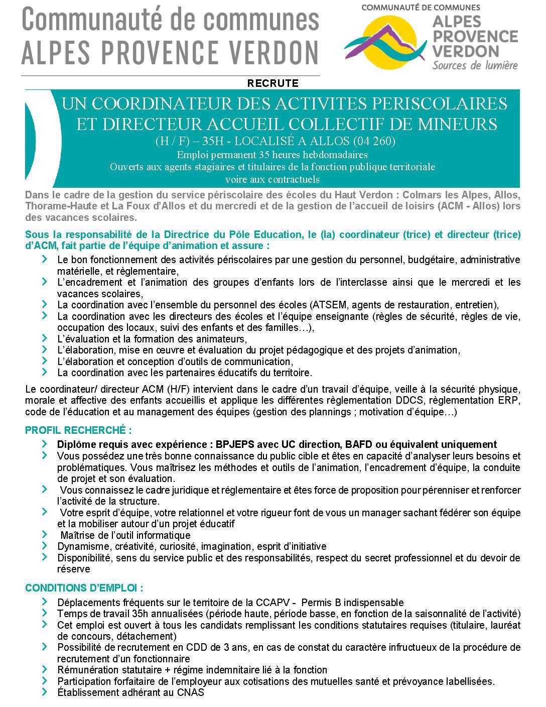 Offre  emploi CCAPV : coordinateur directeur ACM (H/F) Allos 10 mai