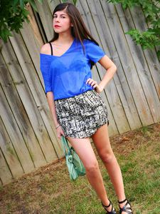 Wearing Dalmation Print and Electric Blue