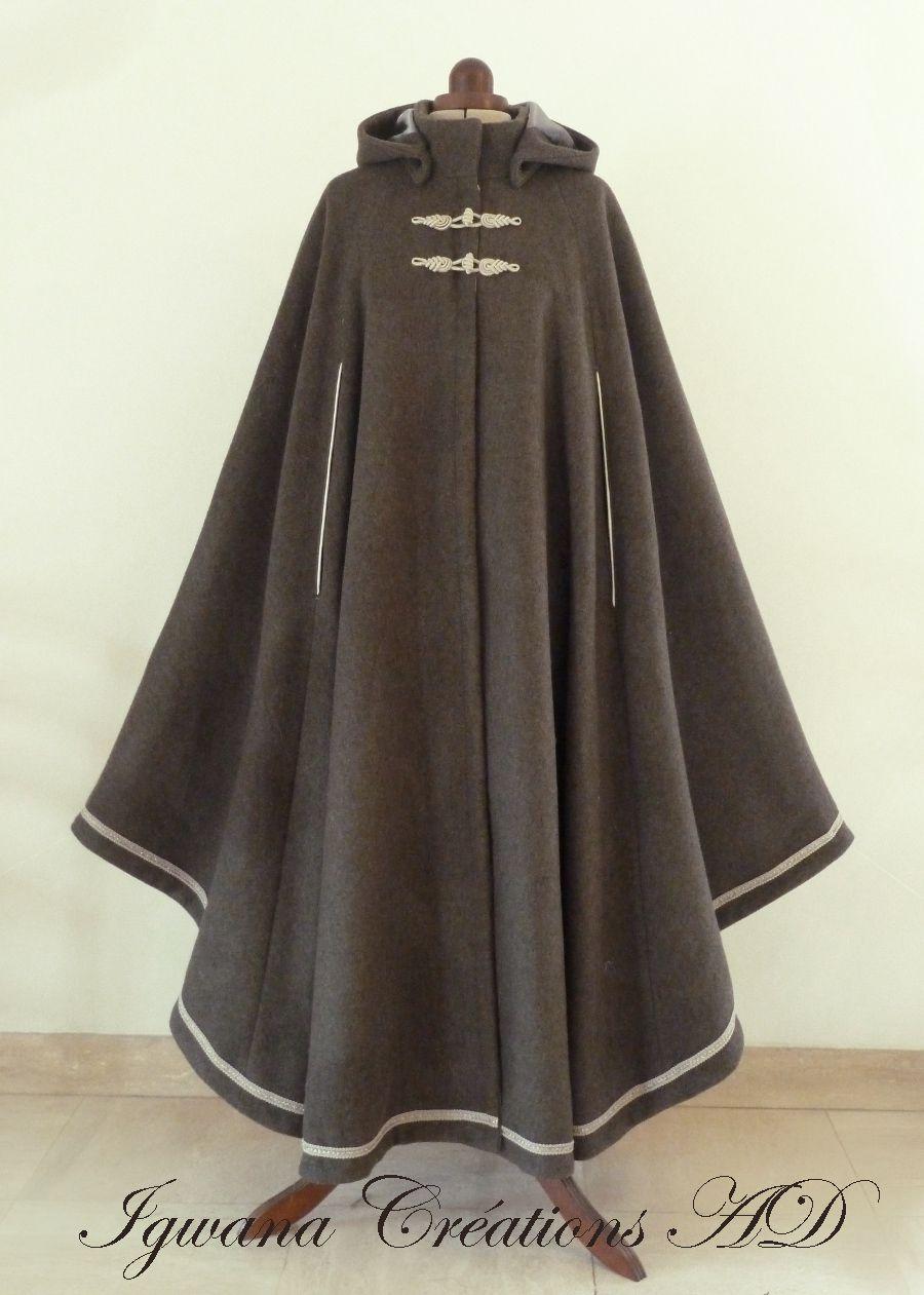 Cape équestre en laine gris-taupe
