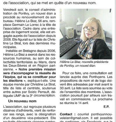 """Lu dans Ouest France """"Une présidente pour Pontivy, un nouvel élan"""""""