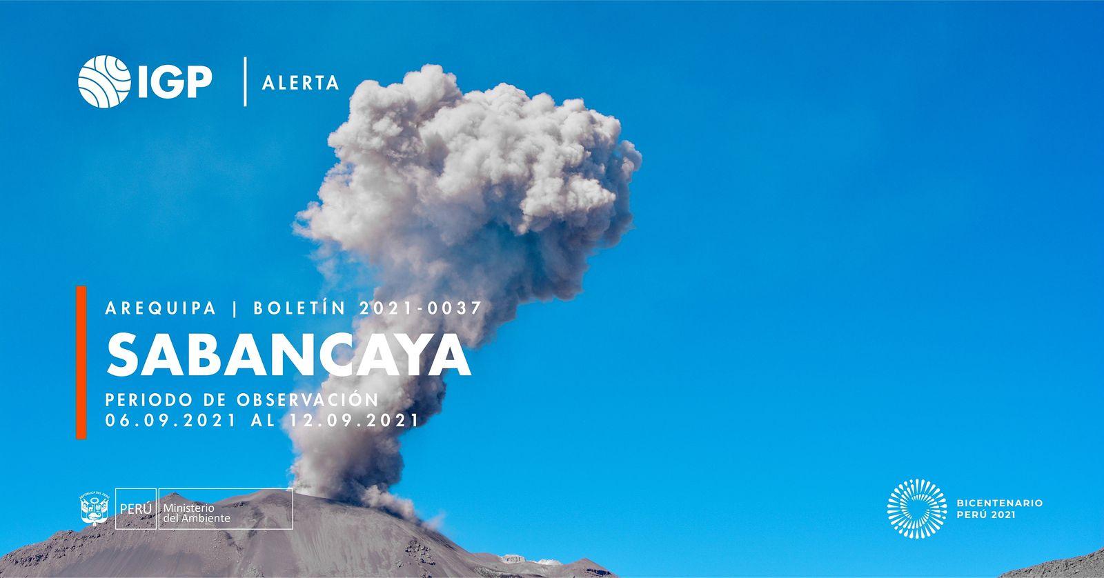 Sabancaya - rapport de l'IGPeru pour la semaine du 6 au 12.09.2021