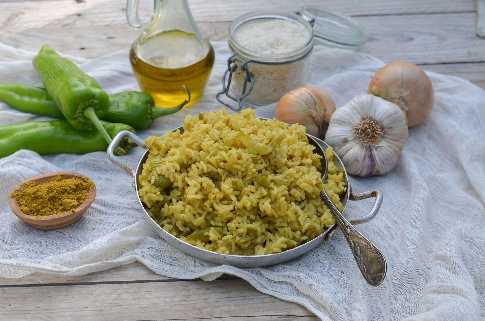 Riz au curry et aux poivrons