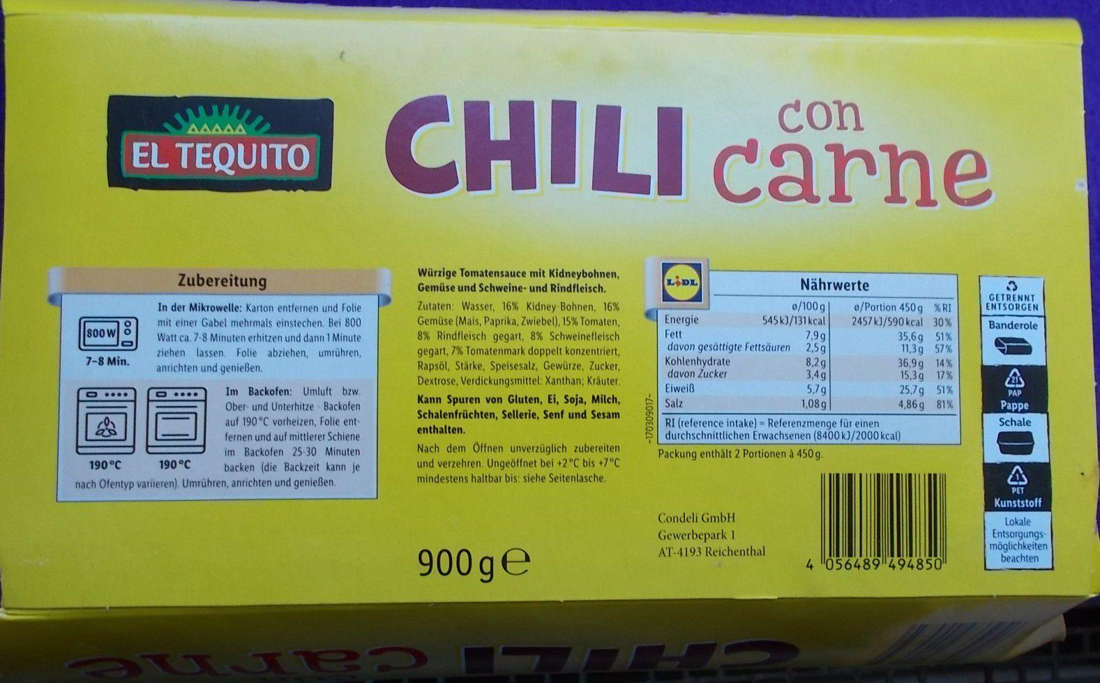 Lidl El Tequito Chili con Carne XXL