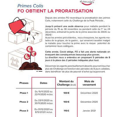 InFO : Primes Colis – FO obtient la proratisation !