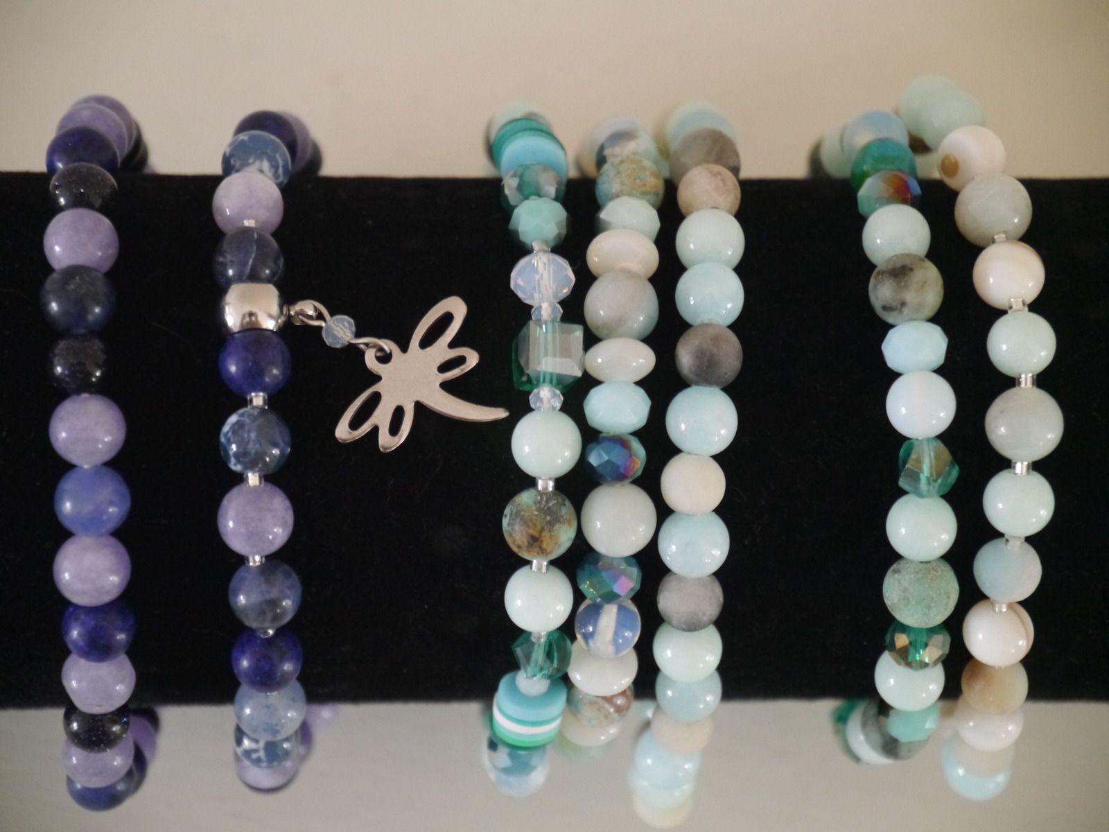 Amazonite, sodalite, lapis lazuli, angélite, etc
