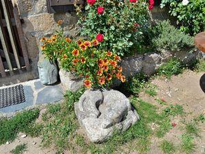 Avant de repartir, petit arrêt pour admirer sculptures et jolies fleurs...